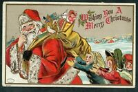 SANTA CLAUS with Toys ~Children~ Antique Embossed Christmas Postcard-s477
