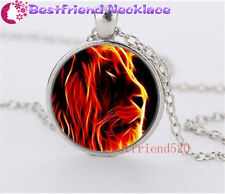 Fire Lion Cabochon Glass silver necklace for women men Jewelry