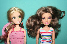 Lot Of 2 RARE Spin Master LIV Articulated Jointed  Dolls 3 Wigs Clothing Shoes