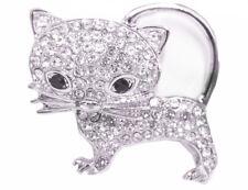 Magnet Brosche Schal Poncho Taschen Strass Steine Anstecker Katze Silber