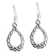 Cute Celtic Knot Teardrop Sterling Silver Earrings