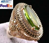 Turkish 925 SILVER HANDMADE Peridot Stone LADIES  WOMANS RING ALL SIZE US