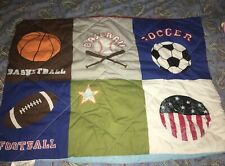 Boys Sports Themed Multi-Color Standard Size Pillow Sham; Excellent Condition.