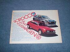 "1977 VW Scirocco Vintage Ad ""The Racing Volkswagen"""