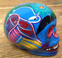 Mexican Art Pottery Folk Skeleton Head Bright Blue Hand Painted Day of the Dead