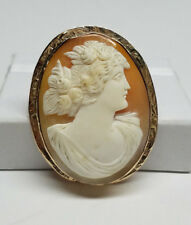 10K Yellow Gold Carved Shell Lady Cameo Brooch Pin Pendant - New Old Stock