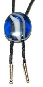BEAUTIFUL ROYAL BLUE SWIRL GLASS CAB BOLO TIE with BLACK CORD (BT003)