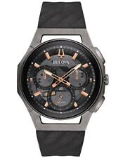 New Bulova Men's Curv 98A162 Chronograph Titanium 44mm Case Rubber Watch