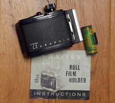 "Graflex ""23"" Graphic 120 Roll Film Holder 6x9 with Original Instructions"