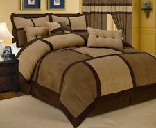 Patchwork Brown Micro Suede Comforter Set + Sheet Set Queen Size 13 Piece Set