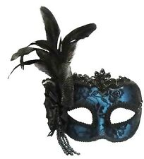 Blue Side Feather Masquerade Masked Ball Venetian Eye Mask