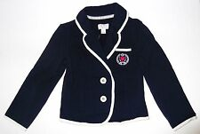 New The Childrens Place Girls Blazer Coat LOVE Crest Navy Blue Size X Small 4