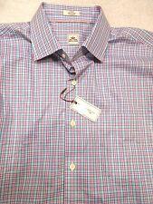 Peter Millar 100% Cotton Tar Heel Blue Mini Check Sport Shirt NWT Large $125