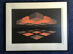 BRIAN HALSEY SERIGRAPH ABSTRACT OP ART SACRED GEOMETRY MANDALA APOTHEOSIS SIGNED