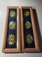 Vintage Pair of Khatam Kari Frames with Pictures