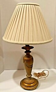Vintage Table Lamp w/Gold Finish & Fluting Swag Design & Cream Shade Light