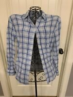 Gap Women's Blouse Size Small S Long Sleeve Button Up Blue Plaid Shirt Top