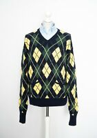 Polo Ralph Lauren Vintage Jumper Argyle Diamond V-Neck Size XL