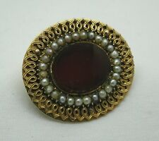 Antique Heavy Lovely Quality High Carat Gold Pearl And Carnelian Agate Brooch