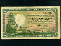 South Africa:P-86c,5 Pounds ,1946 * Sailing Ship *