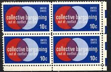Scotts #1558  10c COLLECTIVE BARGAINING Stamp Block of 4