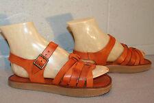 6.5 B Nos Vtg 70s Rust Brown Flat Heel Hippie Boho Festival Sandal New Shoe