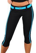 Womens Compression Lowrise Capris Leggings Brazilian Supplex w/ Belt XS-S 0-2-4