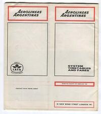 AEROLINEAS ARGENTINAS TIMETABLE FEBRUARY 1967