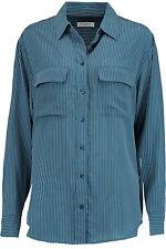 NWT Equipment Signature Blue Stripe Pinstriped Silk Shirt Top Button Down S