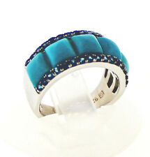 Sleeping Beauty Turquoise Ring (Five square 5mm cabochons) , London Blue Top