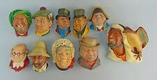 Lot of 10 Legend Bossons Chalkware Wall Masks/Heads&Wall Figurine Gamp,Kurd++