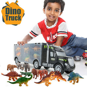 Dinosaur Truck Carry Case Transporter x 12 Toy Dino Figures Jurassic Playset Car