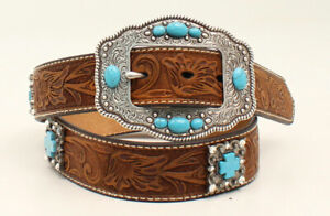 Brown Leather SILVER & TURQUOISE Belt ~ ARIAT ~ Western COWGIRL A1521644 20