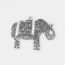 5x Antique Silver Large Lucky Elephant Charms Pendants for Jewellery Making