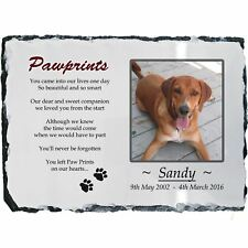 Pet Dog Photo Memorial Slate Plaque - Paw Prints + YOUR Picture- LARGE 20x30cm