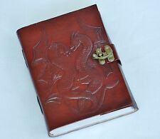 Handmade Double Dragon Tooled Leather Blank Journal Diary Notebook Book (565-WL)