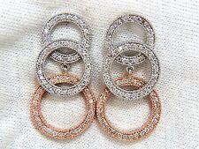 █$6000 2.00ct natural diamonds three tier circles dangling earrings 14kt