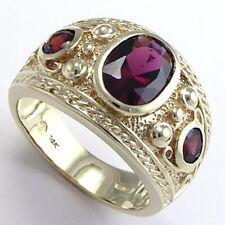 Ring in 14k Yellow Gold Etruscan Byzantine Style Men'S Garnet
