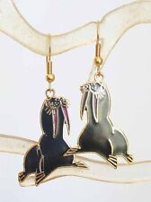 Elegant Genuine Cloisonne Enamel Black Walrus Pierced Earrings 1970s vintage