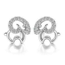 Elegant Shiny Cute Sheep Silver with White Zircon Stud Earrings Studs E899