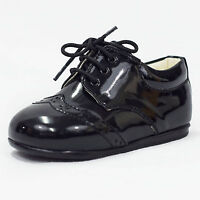 Baby Boys Black Patent Brogue Shoes Formal Smart Lace Up Wedding Sizes 1 - 10