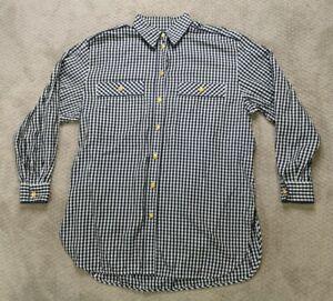 ESCADA Sport Mens Size Medium Button Down Shirt  Blue White Plaid Gold Buttons