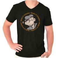 Make It Strong Funny Popeye Cartoon Sailor V-Neck Tees Shirts Tshirt T-Shirt