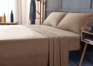 Bamboo Bed Sheet Set   2 Pillowcases + Flat Sheet +  Fitted Sheet