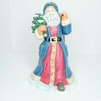 Partylite Father Christmas Pulling Sled Candle Votive Holder Santa Blue Gifts
