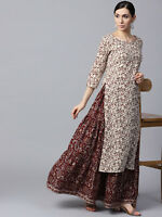 Indian Kurta Kurti With Palazzo Dress Kurta Top Tunic Set Solid Combo Ethnic New