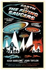 """VINTAGE - EARTH VS THE FLYING SAUCERS MOVIE POSTER 12"""" X 18"""""""