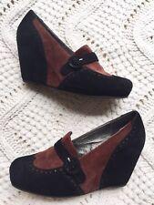 Vintage by Jeffrey Campbell Jenette Loafer Wedge Heels Black Brown Suede sz 10