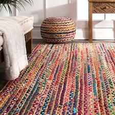 Braided Floor Rug Boho Jute & Cotton Rug Rectangle  Floor Mat Rugs Various Size