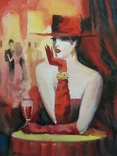 "ERIK FREYMAN- ""MYSTERIEUSE ROUGE""  ORIGINAL WATERCOLOR - SMALL 9"" X 7"" PAPER"